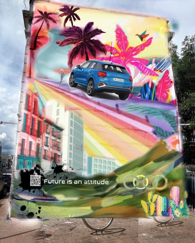 Audi Q2 protagoniza mural que absorbe 20kg de CO2